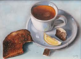 blck tea and burned toast