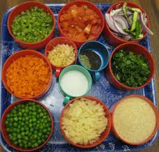 Ingredients for the preparation of rava Khichdi