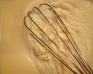 Take out ice cream mixture from freezer and stir using rubber spatula