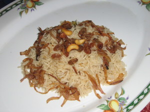 Ghee rice in a serving plate