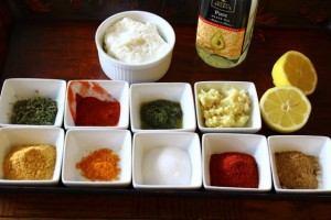 Ingredients required for making tandoori chicken