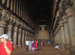 The rock-cut architectural styled hall at Karla Caves