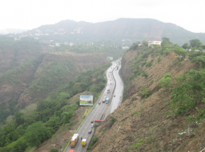 Mumbai-Pune Expressway as visible from the Rajmachi point