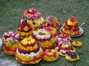 On the occasion of Bathukamma the arrangement of flowers and decorating Bathukamma