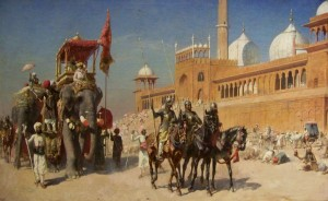 Great_Mogul_And_His_Court_Returning_From_The_Great_Mosque_At_Delhi_India_-_Oil_Painting_by_American_Artist_Edwin_Lord_Weeks